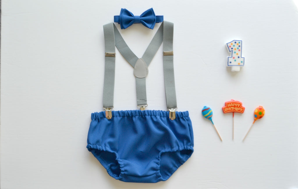 Light Gray Suspenders & Royal Blue Bow Tie & Royal Blue Diaper Cover - ARMONIIA
