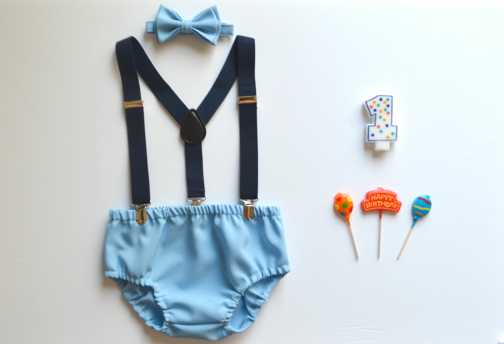 Navy Suspenders & Baby Blue Bow Tie & Baby Blue Diaper Cover - ARMONIIA
