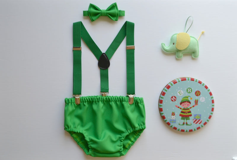 Green Suspenders & Green Bow Tie & Green Diaper Cover