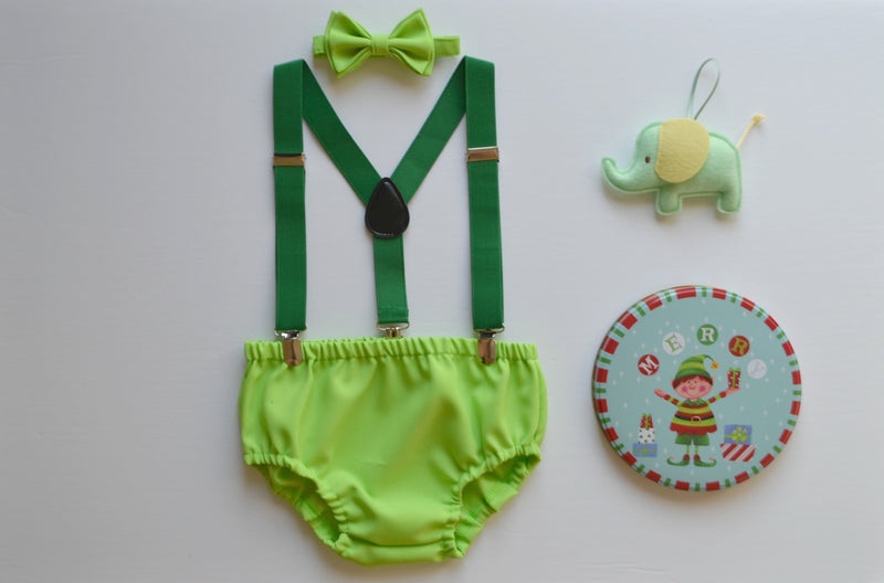 Lime Bow Tie & Lime Diaper Cover - ARMONIIA