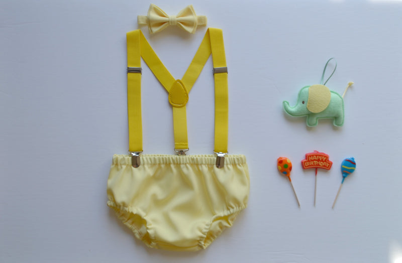 Yellow Suspenders & Yellow Bow Tie & Yellow Diaper Cover