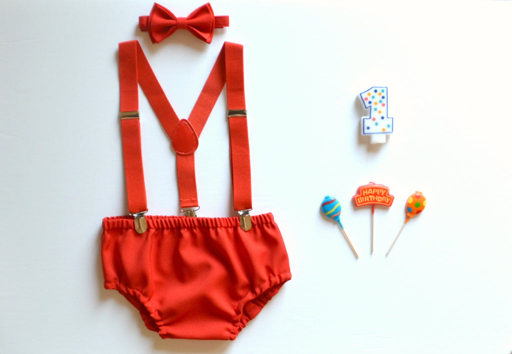 Red Suspenders & Red Bow Tie & Red Diaper Cover