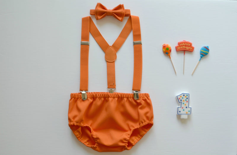 Orange Bow Tie & Orange Diaper Cover