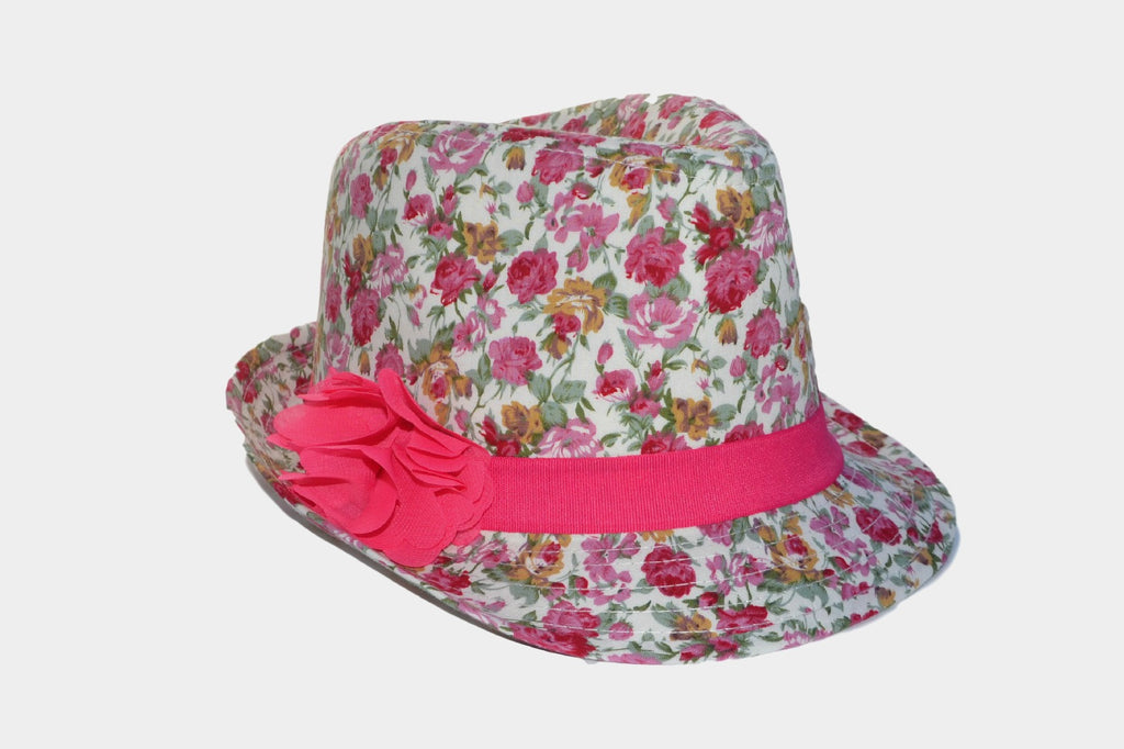 Pink Floral Fedora for Girls  22d3967cff4