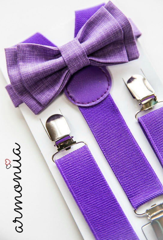 Purple Suspenders & Purple Bow Tie