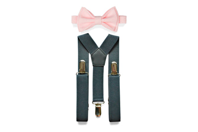 Charcoal Gray Suspenders & Blush Bow Tie