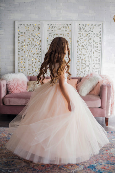 Blush Off Shoulder Flower Girl Dress