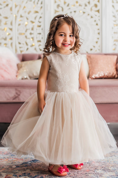 All Ivory Flower Girl Dress