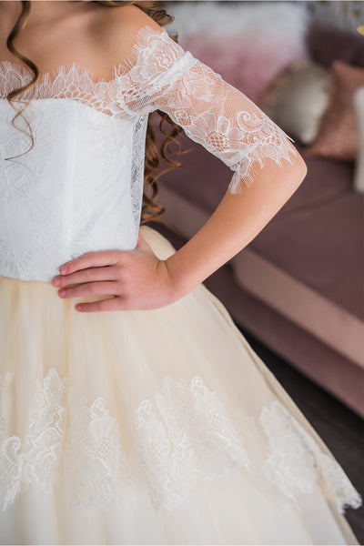 Cream Flower Girl Dress