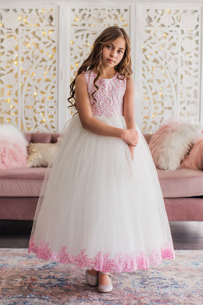 White & Candy Pink Bodice Flower Girl Dress