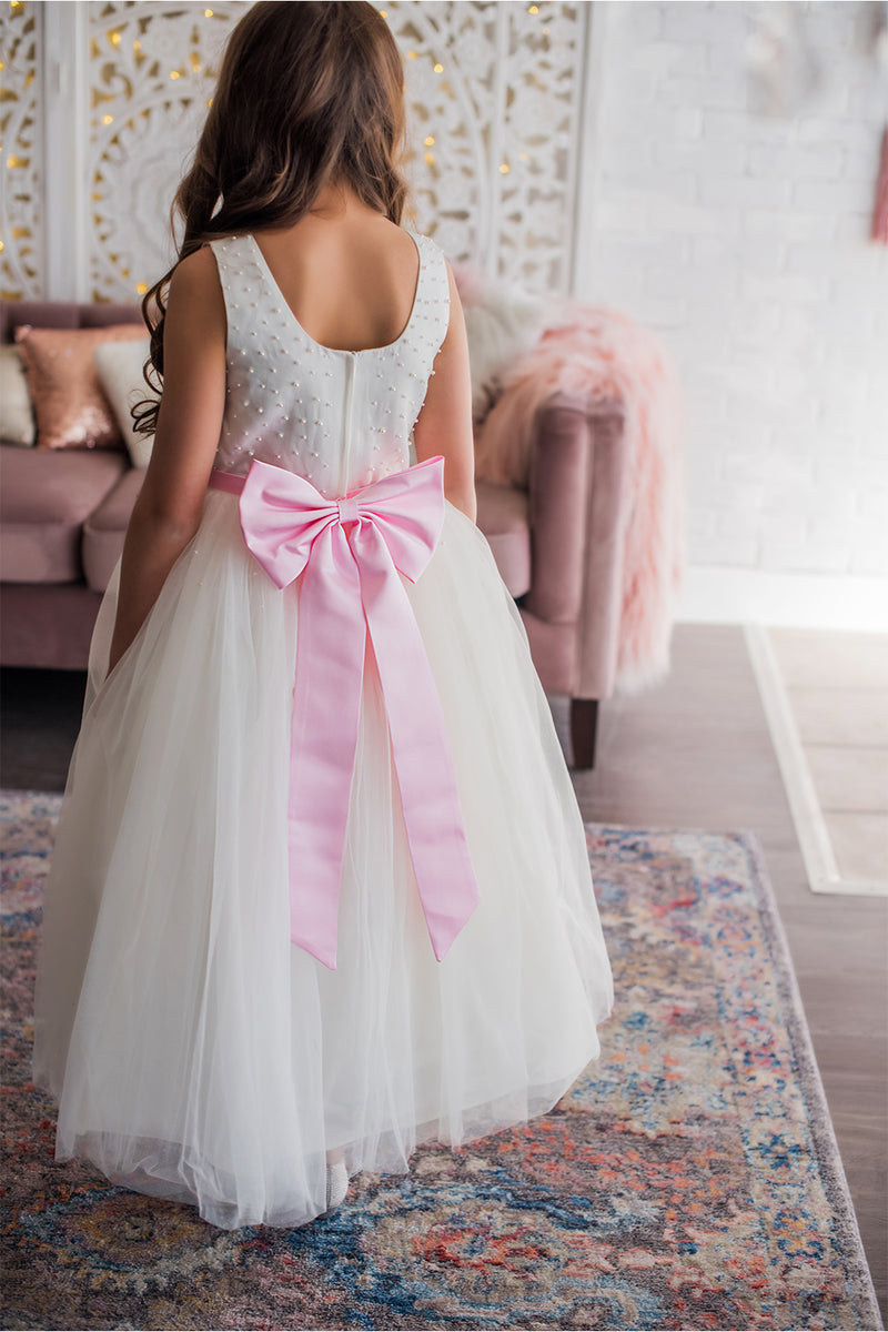 White & Blush Flower Girl Dress