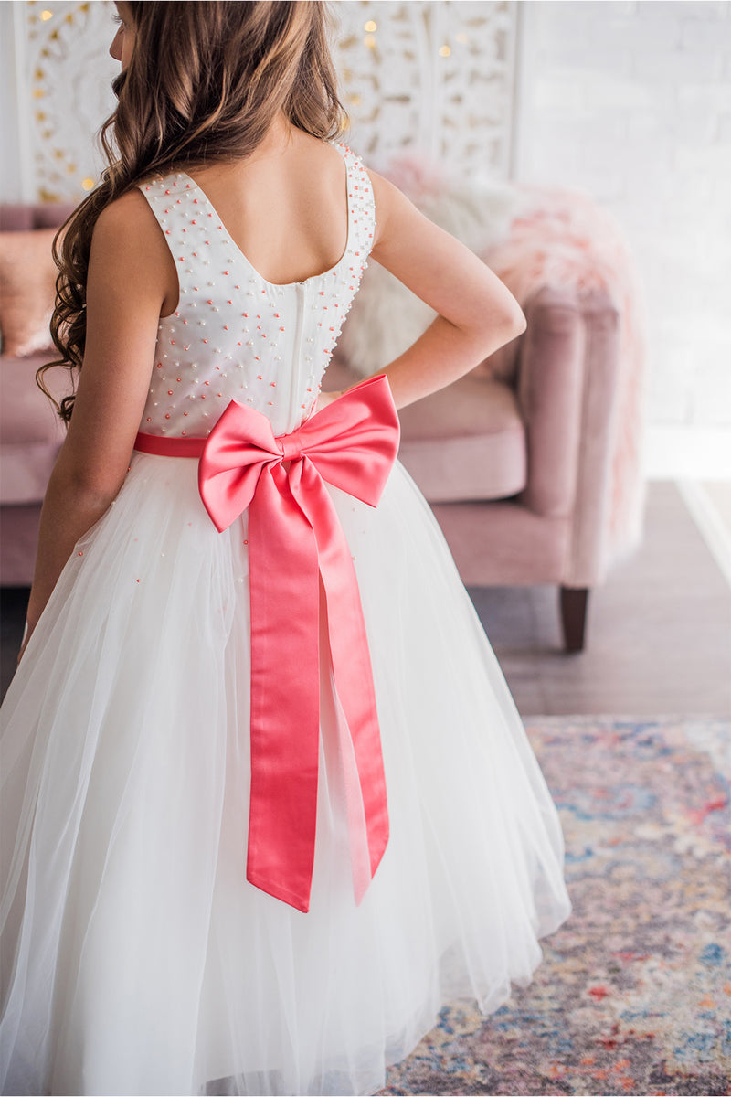 White & Coral Flower Girl Dress