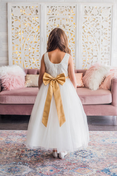 White & Gold Flower Girl Dress