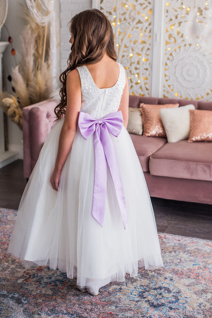 034fdd97c85 White   Lavender Flower Girl Dress