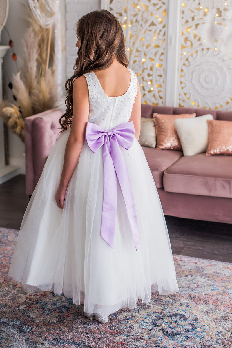White & Lavender Flower Girl Dress