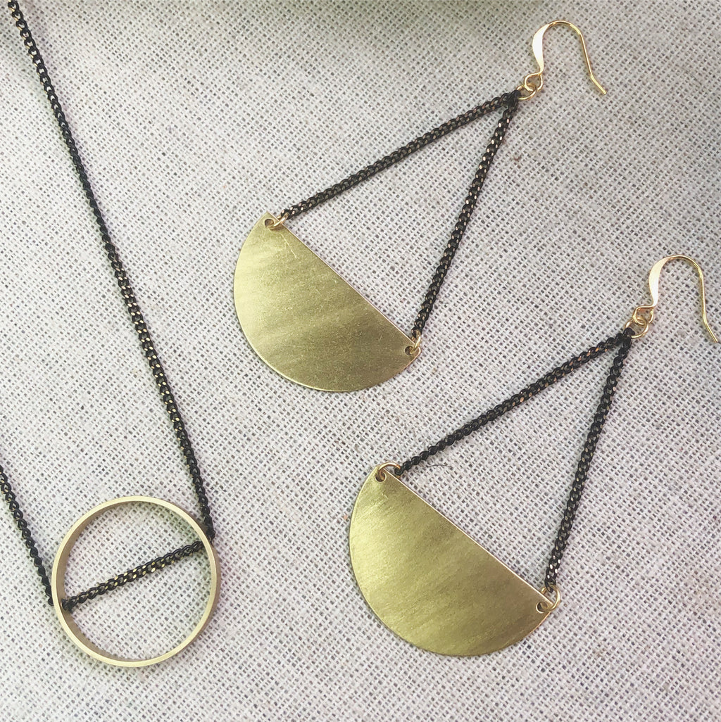 2 Tone Intersected Circle Necklace