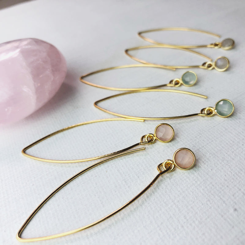 Gemstone Dangle Earrings - 8 colors available