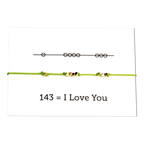 Friendship Bracelet - I Love You 143 - Pearl