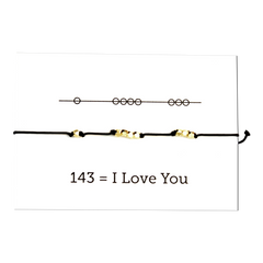 I Love You 143 Cord Bracelet - Black