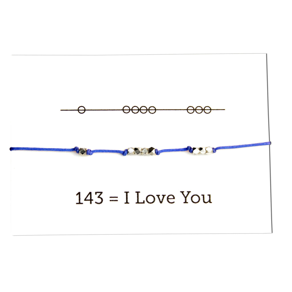 I Love You 143 Cord Bracelet - Electric Blue