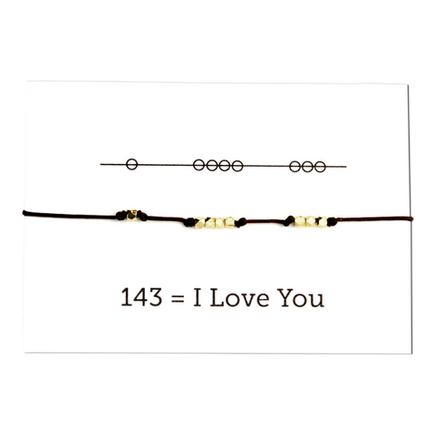 I Love You 143 Cord Bracelet - Red