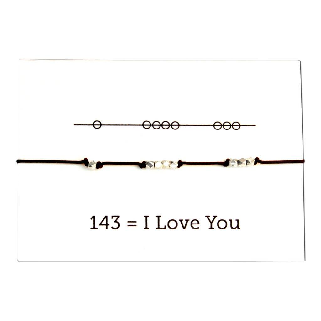 I Love You 143 Cord Bracelet - Chocolate