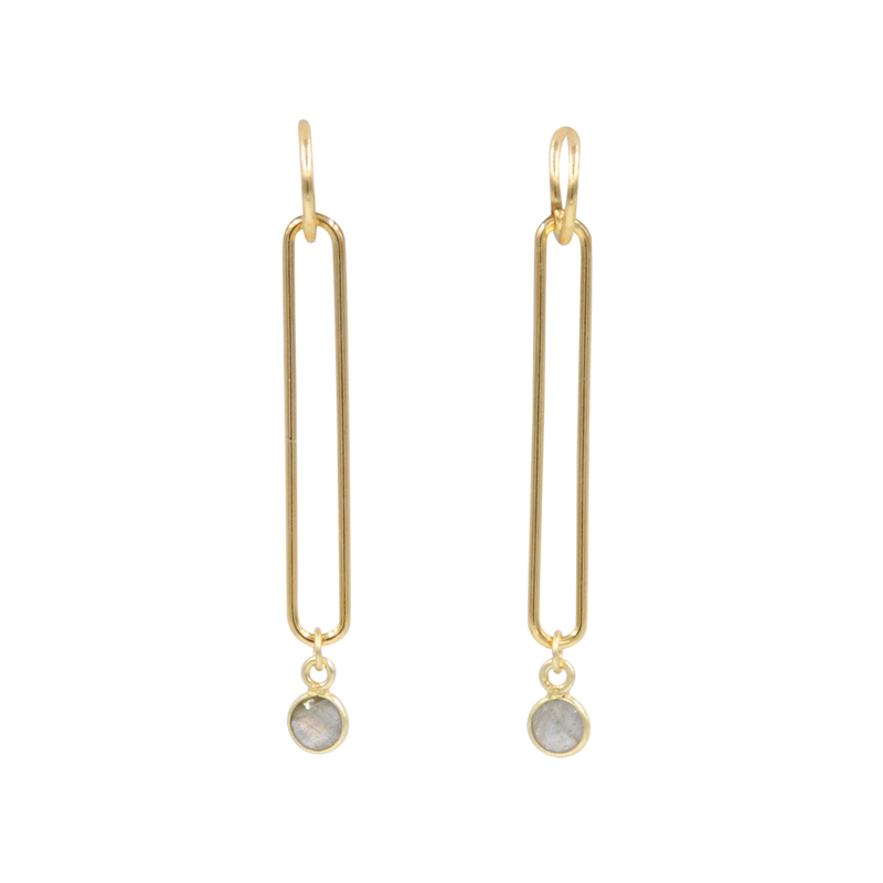 Looping Gold Dangle Earrings with Gemstone Drop - 8 Colors