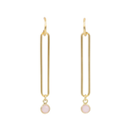 Looper Gold Dangle Earrings with Gemstone Drop - 8 Colors