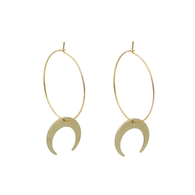 Crescent Moon Hoops - Brushed Brass