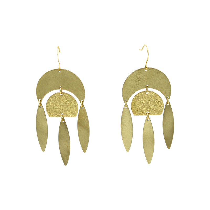 Vanessa Brushed Brass Chandelier Earrings