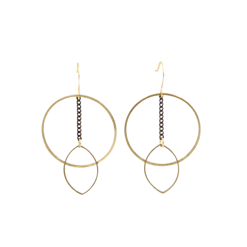 Mina Circle & Marquis Chain Dangle Earrings