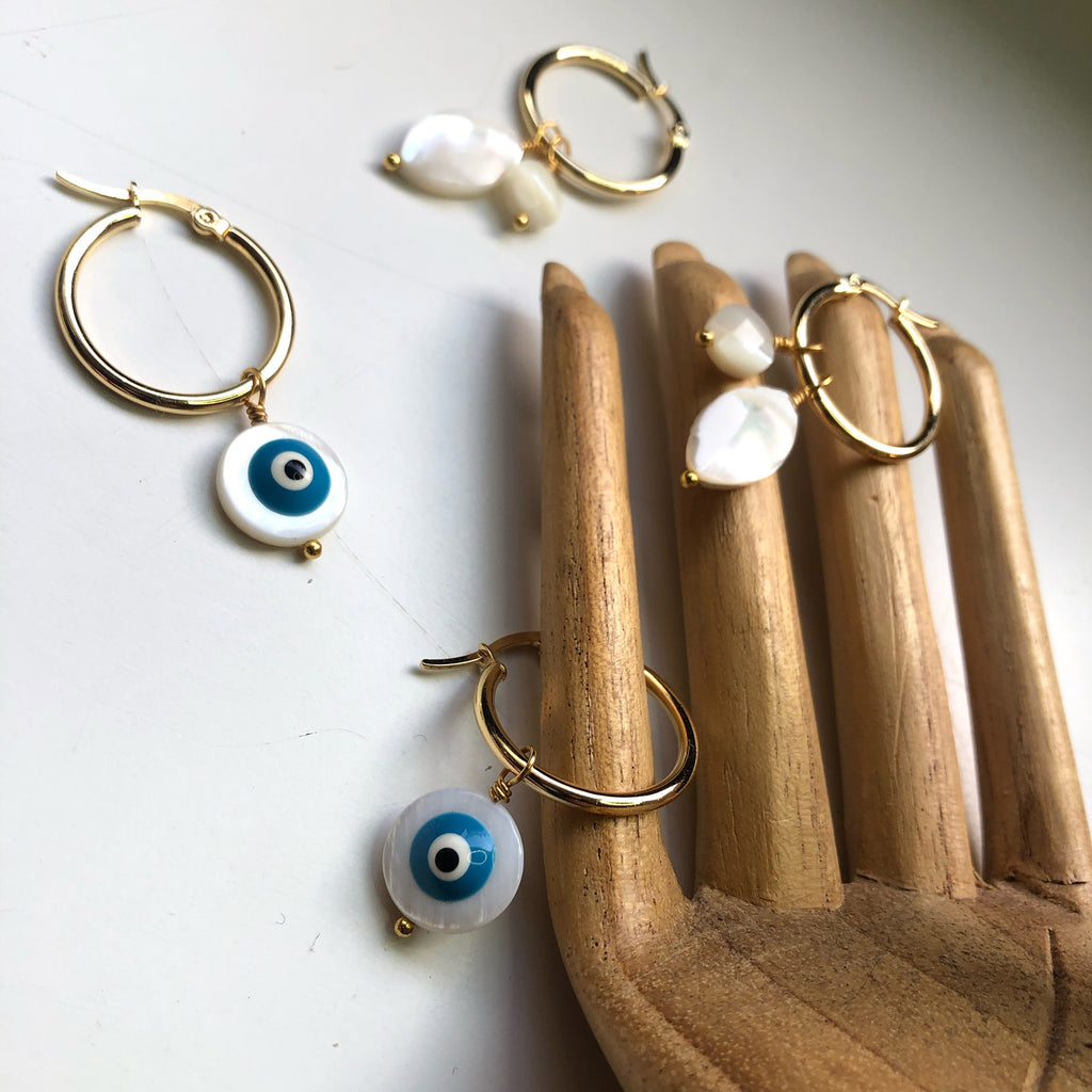 Mother of Pearl Mira Thick Hoops