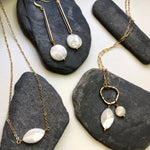 Mother of Pearl Muriel Paperclip Chain & Ring Necklace
