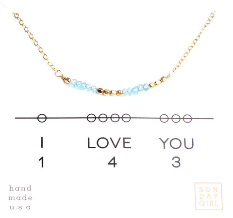 Gemstone Secret Code Necklace - Rose Quartz
