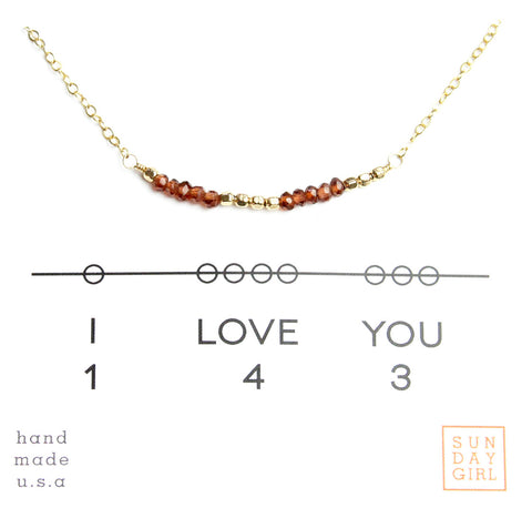 Gemstone Secret Code Necklace - Garnet