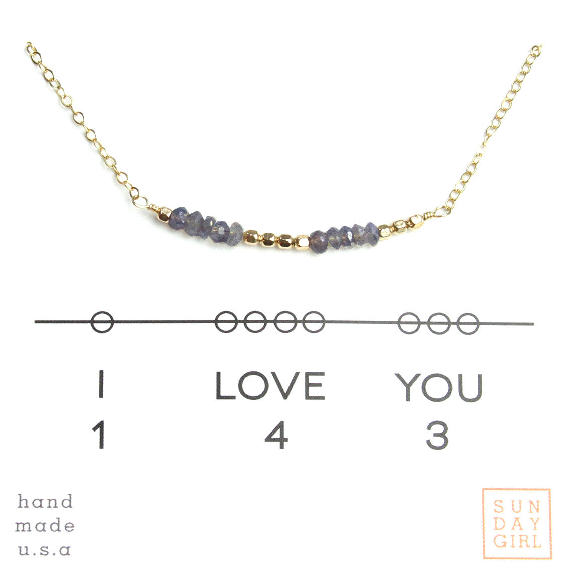 Gemstone Secret Code Necklace - Iolite