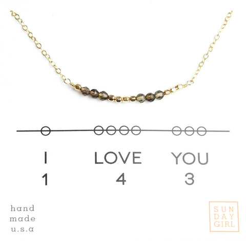 Gemstone Secret Code Necklace - Smokey Topaz