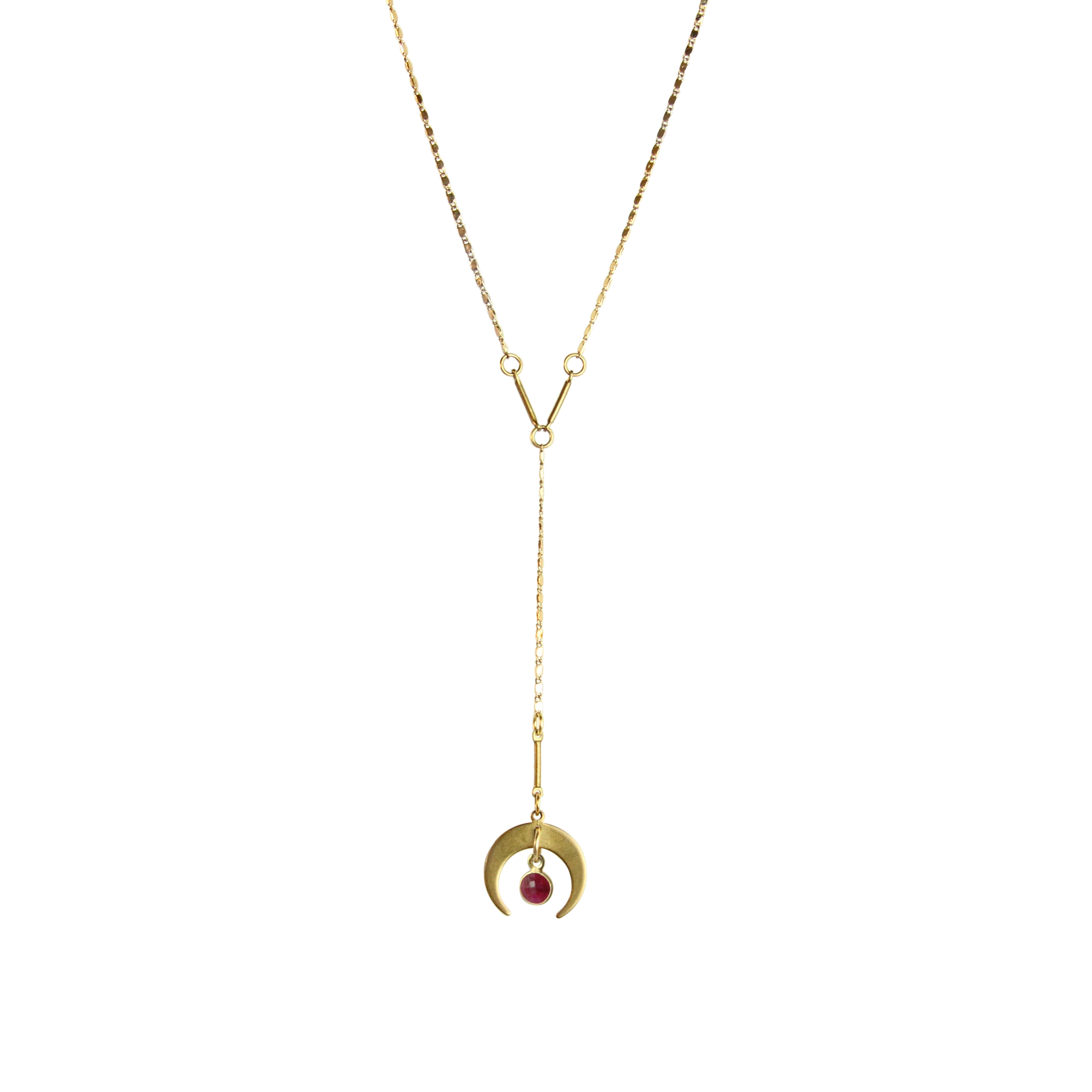 Moonlight Mile Crescent & Gemstone Y Necklace - 6 colors