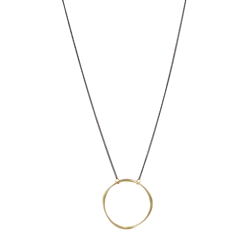 Manon Large Brass ring and Blackened Chain Necklace