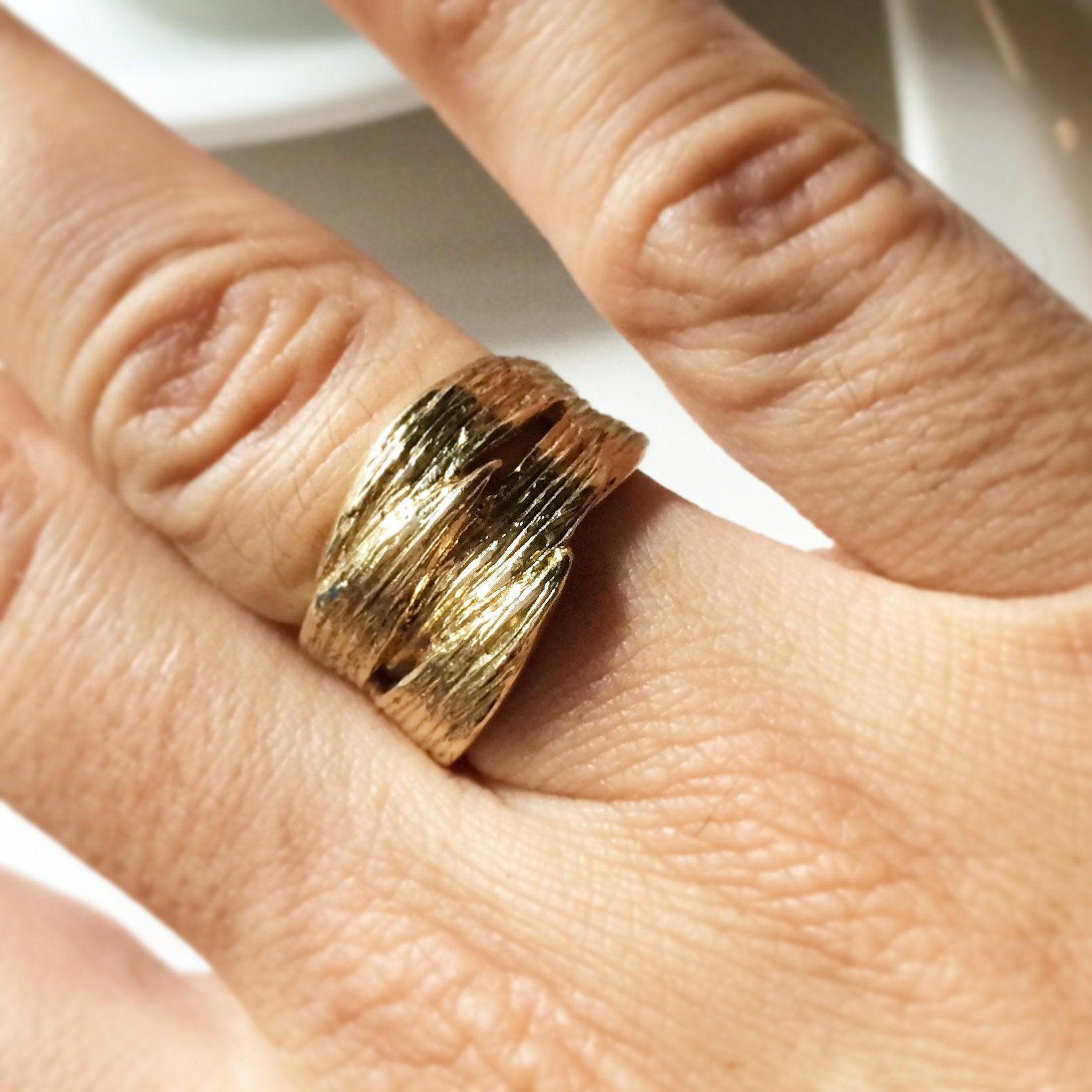 Leaf Wrap-Over Recycled Brass Ring