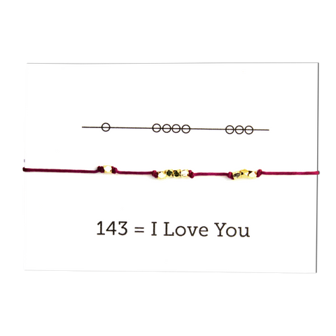 Friendship Bracelet - I Love You 143 - Blue/Emerald