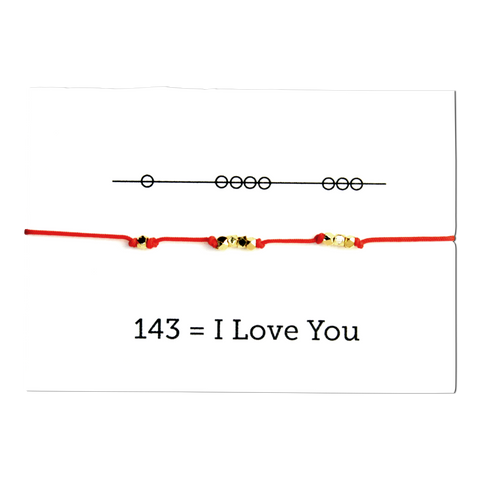 I Love You 143 Cord Bracelet - Deep Red
