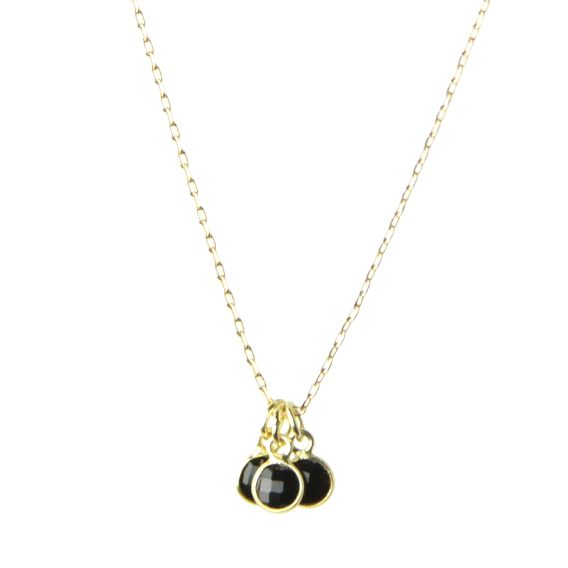 Gemstone Triplets Minimal Necklace in Black Spinel