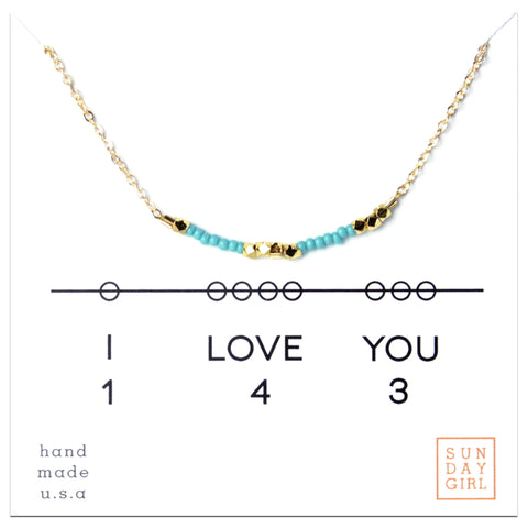 I Love You - Secret Code Seed Bead Necklace - Orange