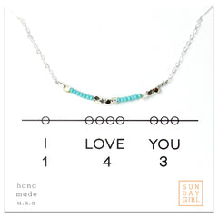 I Love You - Code Friendship  Necklace  143 - Aqua