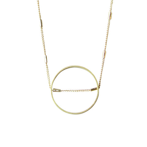 Super Moon Brass & Moonstone Necklace