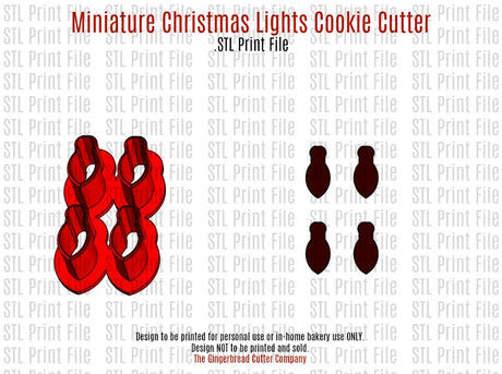 Miniature Christmas Lights Cookie Cutter .STL Print File