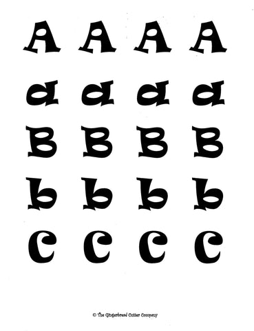 Alphabet Royal Icing Transfer Template - Ravie (Upper & Lower Case)