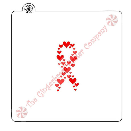 Awareness Hearts Ribbon Cookie Stencil