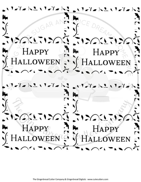 "Happy Halloween with Bats and Vines 4""x 4"" Bag Topper Digital File"